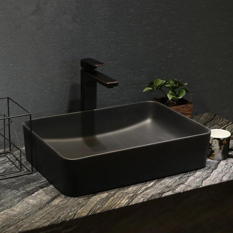 black rectangular countertop oval ceramic bathroom sink art basin vanity top wash basin