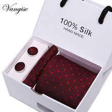 Classic Mens Tie Red Dot Striped 100% Silk  Jacquard Woven Hanky Cufflink Set For Men Formal Wedding Party gift box packing