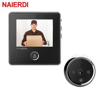 NAIERDI caméra à porte numérique LCD, écran LCD avec caméra de porte électronique cloche IR la porte de nuit