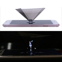 OOTDTY 3D Holographic Projector Pyramid Display With Sucker For 3.5-6Inch Smartphone