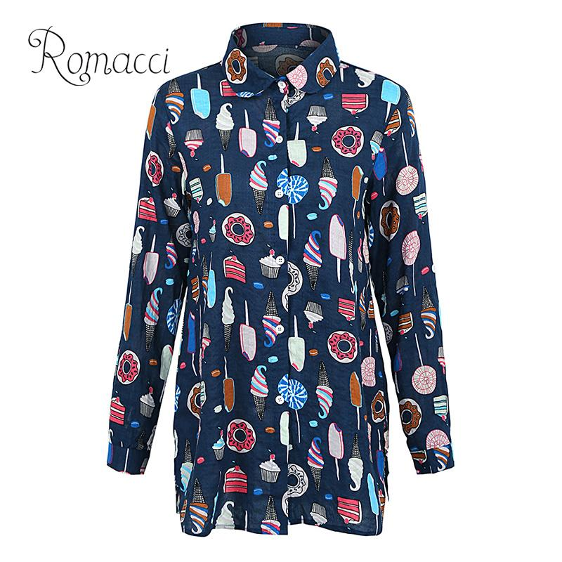 ed27dcfd6928c Romacci Women Cute Long Shirt Ice Cream Sweets Print Long Sleeves Plus Size  Top Turn down Collar Button Down Casual Blouse Tops-in Blouses   Shirts  from ...