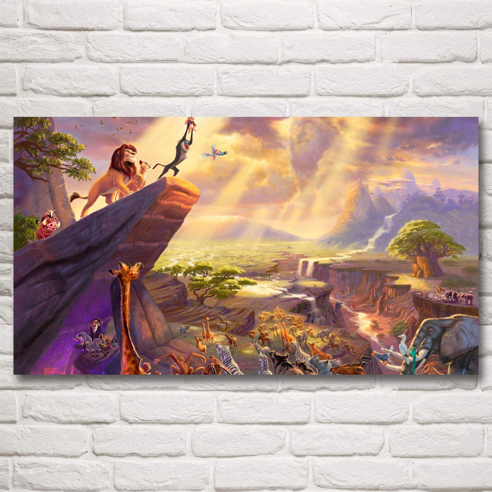 the lion king movie art silk fabric poster prints home wall decor pictures painting 11x20 16x29