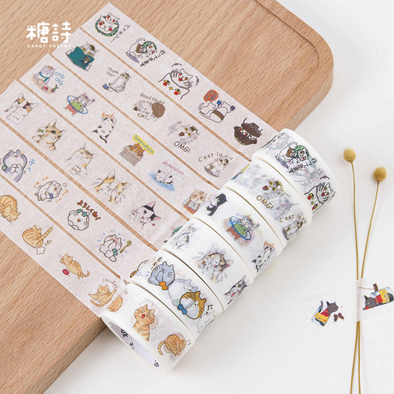 Kawaii Cute Cat Animals Washi Tape Decorative Adhesive Tape DIY Scrapbooking Sticker Label Masking Tape School Office Supply cute kawaii flowers feather cat swan animals decorative scotch tape adhesive masking washi tape paper stickers for scrapbooking