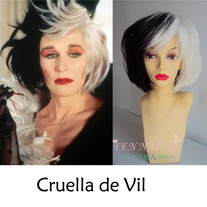 Cruella De Vil Wigs Women Black White Mix Fluffy Synthetic Cosplay Wigs Heat Resistant Costume Wigs + Wig Cap