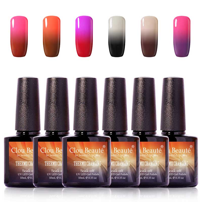10ml Clou Beaute Temperature Changing Nail Gel Polish 6Pcs/lot Soak Off Gel Nail Lacquer Thermo Changing Color UV Nail Polish лаки для ногтей isadora лак для ногтей гелевый gel nail lacquer 247 6 мл
