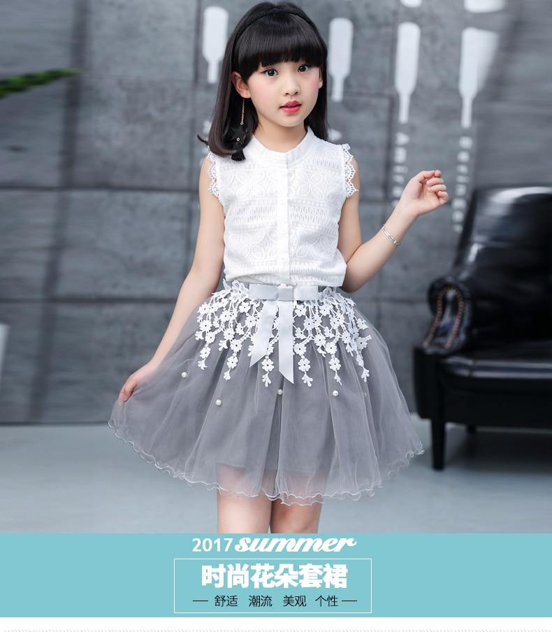 Toddler girl Summer dresses Sleeveless 2-pieces-sets Lace vest + bud silk gauze stitching skirt AliExpress Hot Sale 120 130 140 (2)