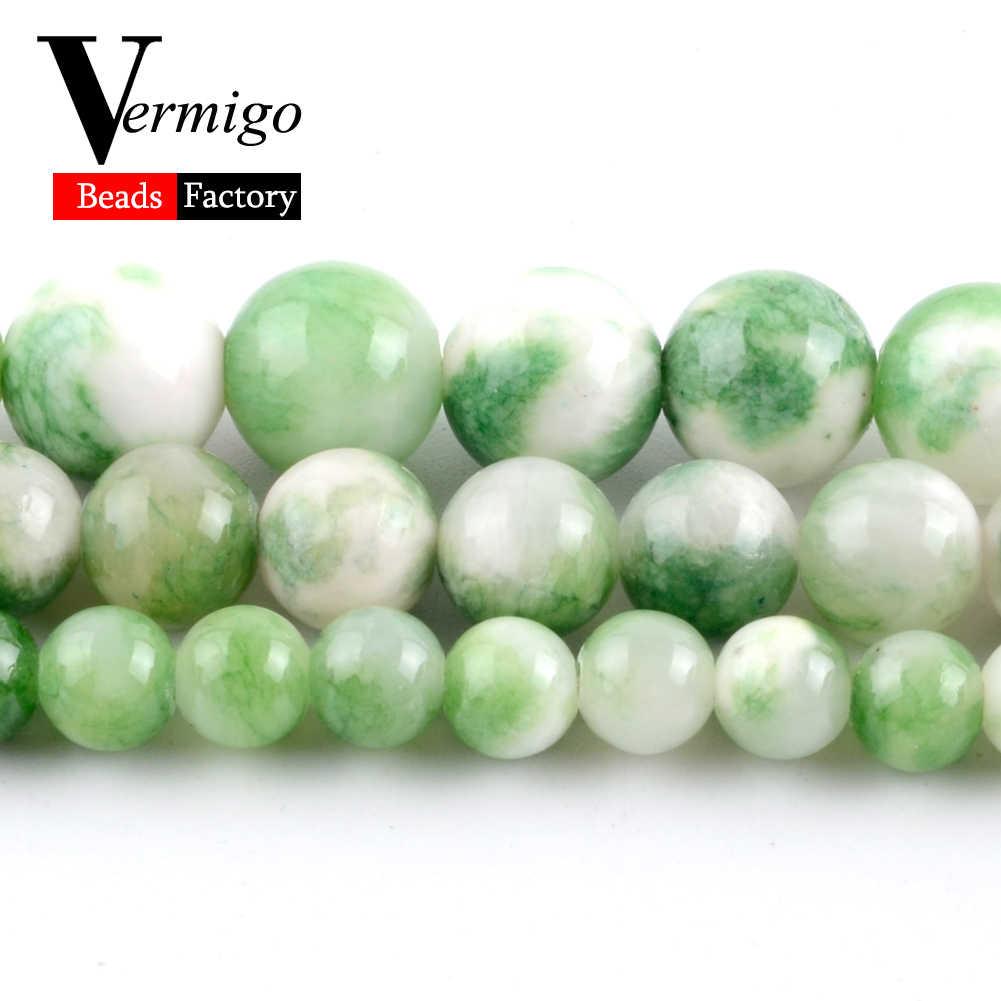 """สีเขียวเปอร์เซีย Jades หินธรรมชาติลูกปัดมุกขายส่งหลวม Spacer ลูกปัด Diy สร้อยข้อมือสร้อยข้อมือผู้หญิงสร้อยคอจี้แหวน 6 มม.- 10 มม.15"""""""