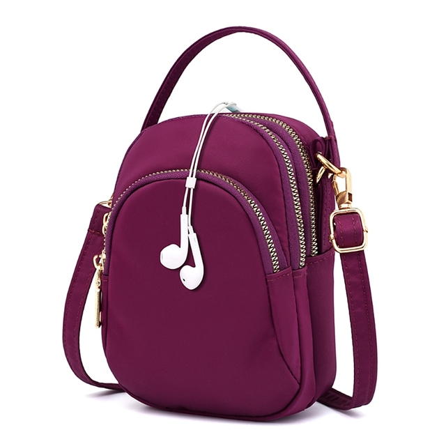6ce34cc7fad7 US $6.75 21% OFF|Women Handbags Multi Pockets Small Phone Bag Soft Nylon  Purse Shoulder Bag Zipper -in Shoulder Bags from Luggage & Bags on ...