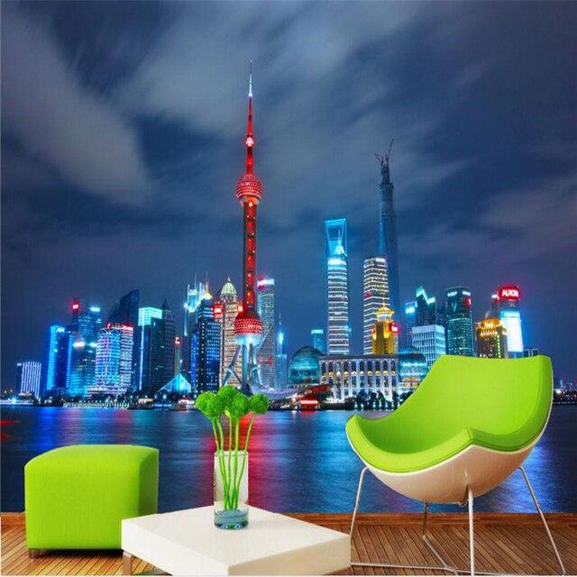 Beibehang Wallpaper Mural Wall Sticker Shanghai Oriental Pearl Night