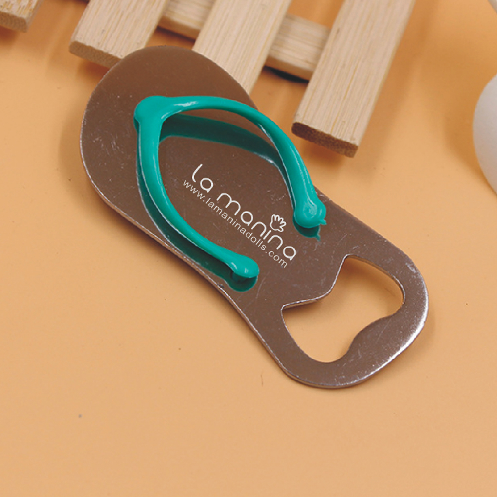 Personalized wedding flip flop style beer openers free to customize with your logo unique wedding giveaways