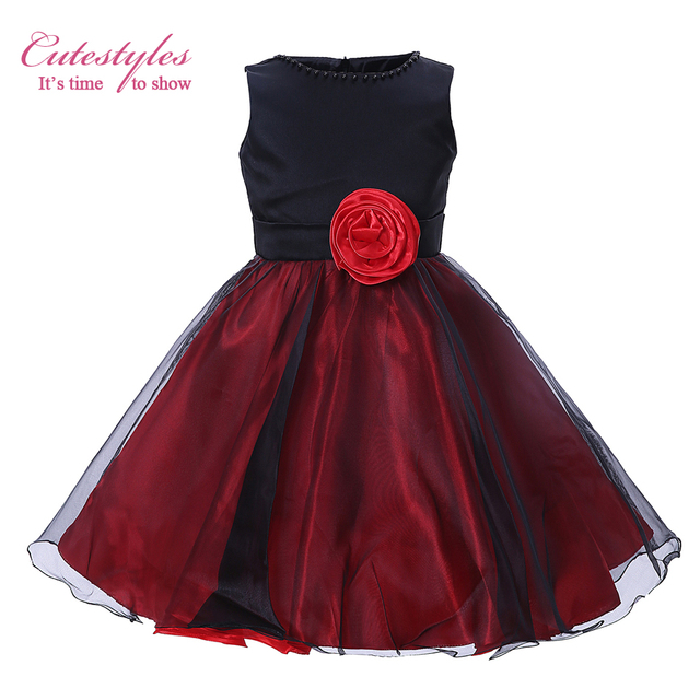 Cutestyles Baby Girl Wedding Party Dress Little Black Red Princess