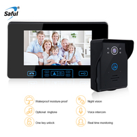 Saful 7LCD Wireless Video Door phone door video intercom Doorbell System with night vision 1 Camera with Rain Cover+1 monitor