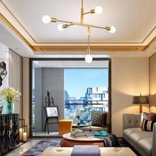 Nordic minimalist chandeliers ceiling light in gold Postmodern LED pendant lights Living room Kitchen island lighting modern E27