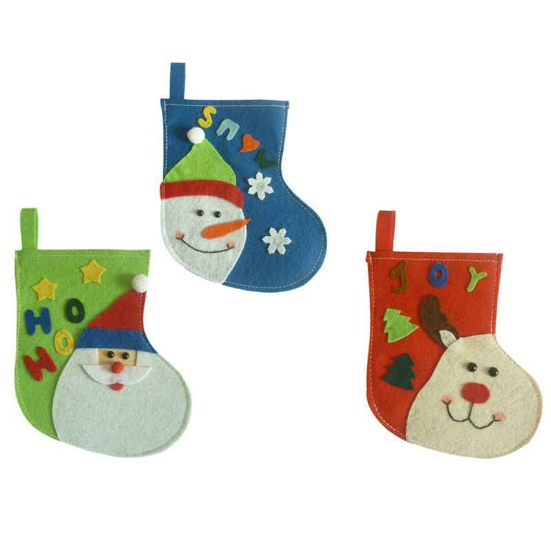 New Year\'s Ornaments Product Decoration Small Christmas Stocking Candy  Children\'s Gift Bag Santa Snowman Elk Christmas Stockings