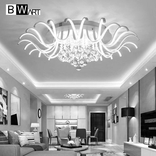 Bwart Modern Led Crystal Chandelier Lighting For Living Dining Bedroom Home Office Study Remote Large Ceiling Lamp