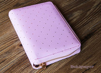 A6 Lilac Pink Gold Polka Dot Zipper Planner /Journal Planner/Refillable planner/zipper planner