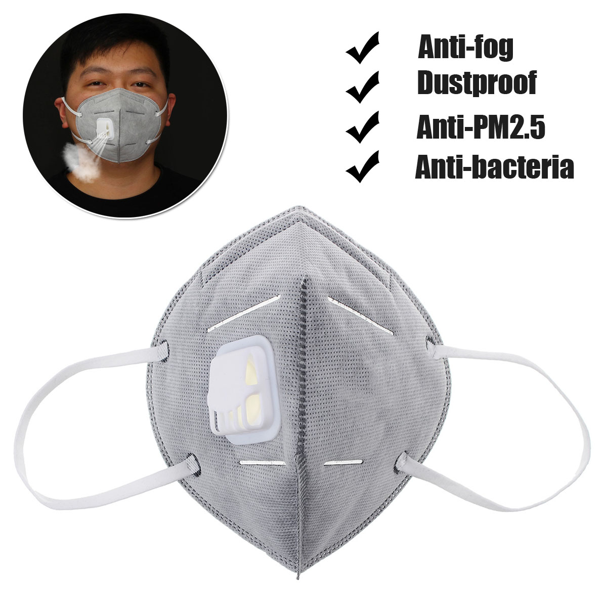 Activated Carbon N95 5 Layer Breathing Valve Mask Dustproof PM2.5 Anti-fog Dustproof Anti-bacteria Anti Fog Respirator