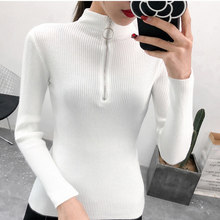 2018 Winter Tops For Women Sweaters And Pullovers Zipper White Knitted Sweater Clothes Long Sleeve Slim Woman
