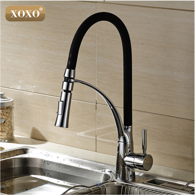 XOXOBlack and Chrome Finish Kitchen Sink Faucet Deck Mount Pull Out Dual Sprayer Nozzle Hot Cold