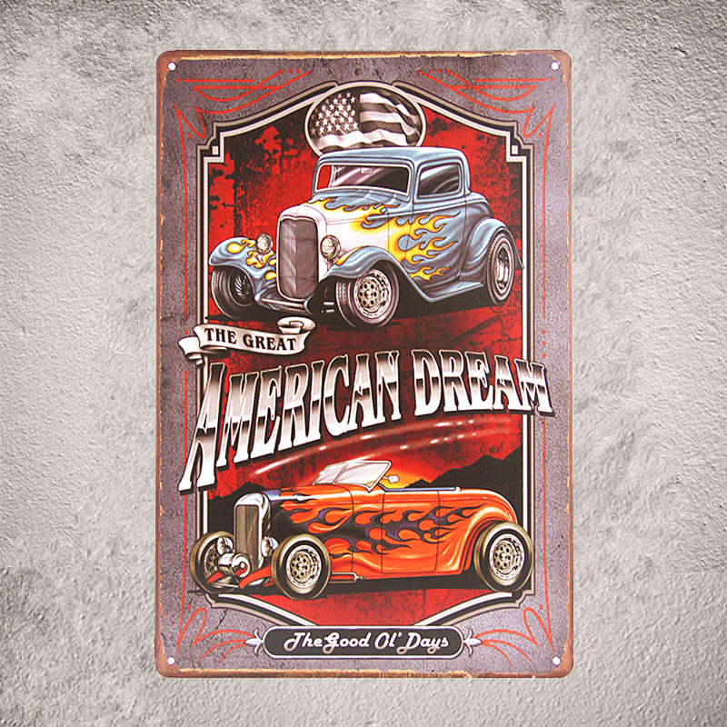 Vintage Metal Tin Signs Car Route 66 Art Posters Hot Rod Garage Decor Wall Plaques Stickers In From Home Garden On