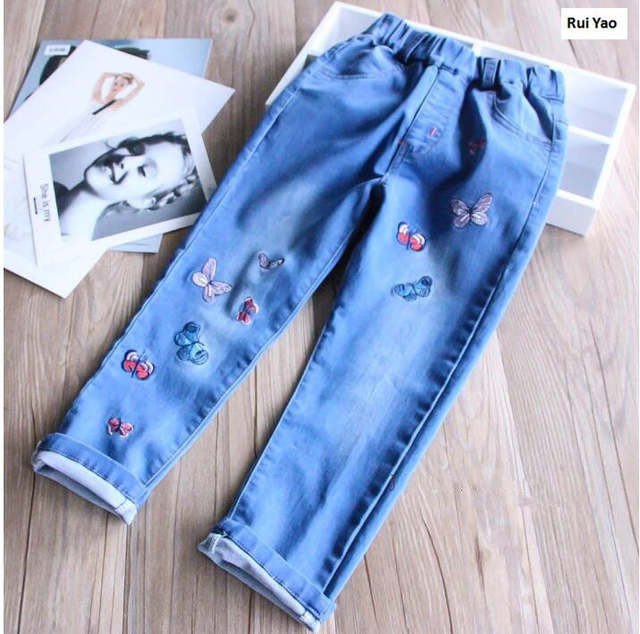 a66509bcc placeholder Y32027641 Autumn Baby Pants For Girls Pants For Girls Trouses  Embroidery Butterfly Toddler Girl Pants Denim