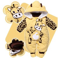 Baby Rompers Boys Girls Winter Newborn Children Clothes Warm Jumpsuit Print Animal Costume Infant Kids Robe Baby Clothing V49