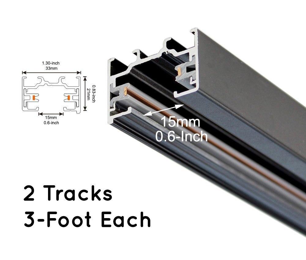 Track Light Rails H Type Black 3