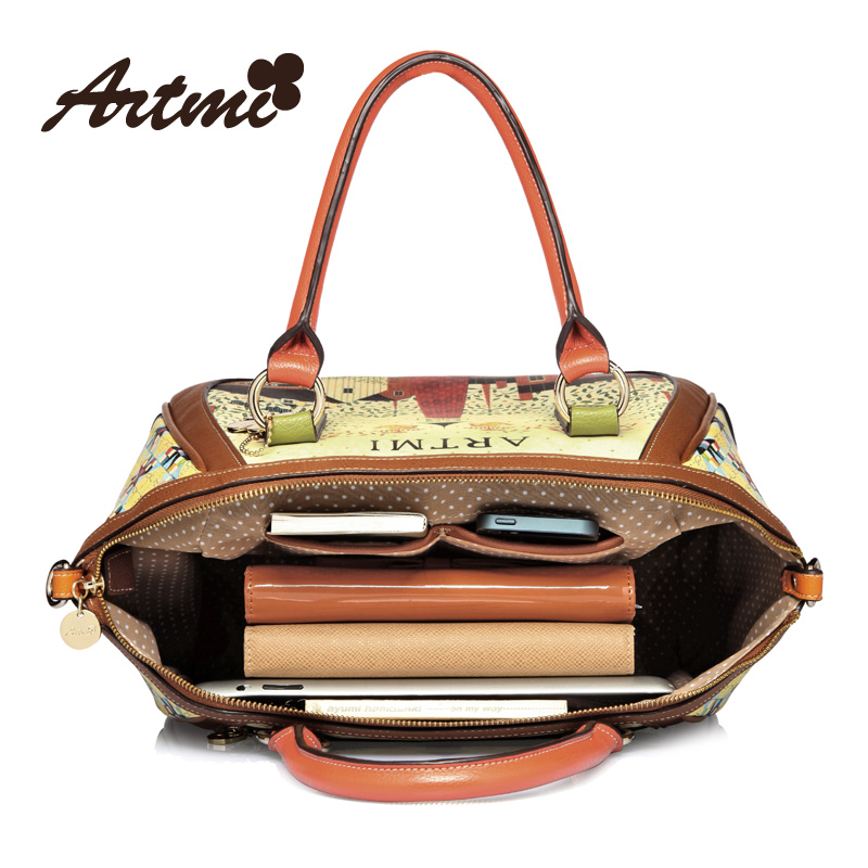 2bcc6963a9a2 Hong Kong Artmi Art dense new fashionable handbags retro print large smiley  sweet hand diagonal package-in Top-Handle Bags from Luggage   Bags on ...