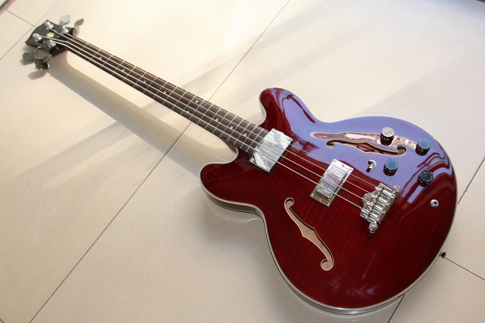Free Shipping  ES-335 Model 4 string electric bass guitar semi hollow body in wine 120930