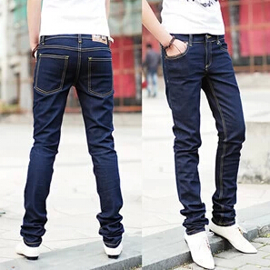 New 2017 Fashion Pencil Pants Men's Jeans Slim Fit Straight Trousers Straight Leg Size 28-34 black and bule Free shipping anne klein new deep black slim leg ponte director women s 2 dress pants $89 361