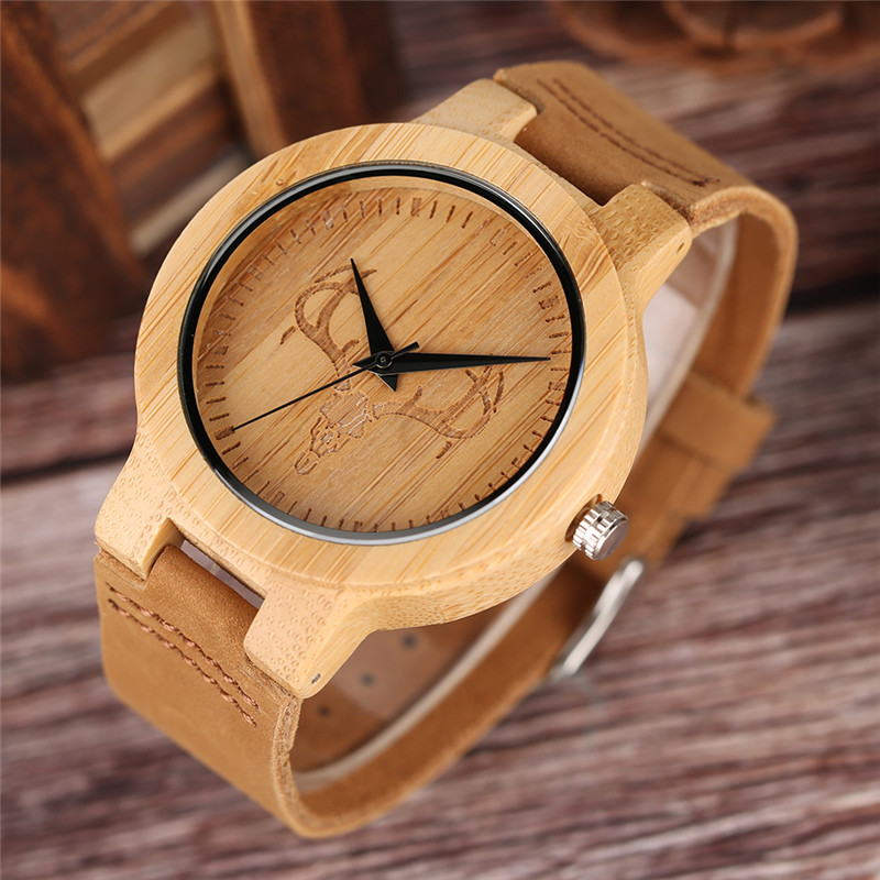 Creative Bamboo Watch Men Women Modern Cattle Bull Head Pattern Handmade Leather Band Nature Wood Wristwatch Unisex Wooden Clock