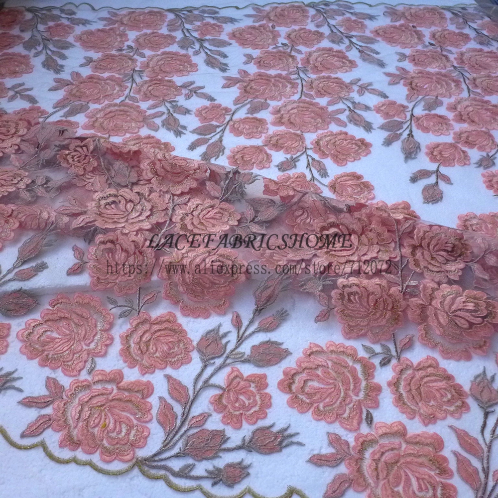 La Belleza Hot peach/gold/silver stread hight quality 3D flowers on netting embroidered dress sequins lace fabric by yardLa Belleza Hot peach/gold/silver stread hight quality 3D flowers on netting embroidered dress sequins lace fabric by yard