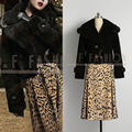 Tracksuits Top Fashion Knee-length Full Wool 2016 New Winter Fashion Ladies Temperament Retro Leopard Coat Sleeve + Skirt Suit