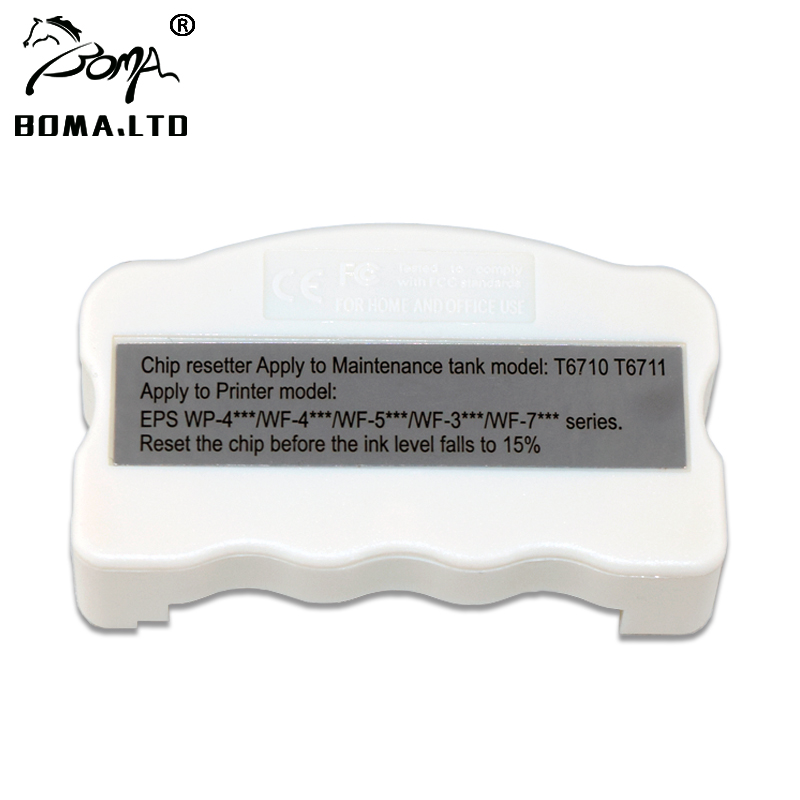 1PC T6710 T6711 Ink <font><b>Maintenance</b></font> <font><b>Box</b></font> Chip <font><b>Resetter</b></font> For <font><b>EPSON</b></font> WF 7720 7715 7710 7210 7110 7610 7620 3620 3640 <font><b>L1455</b></font> Waste ink Tank image