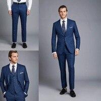 Royal Blue Business Work Formal Men's Suits Slim Groom Tuxedos 3 Pieces custom