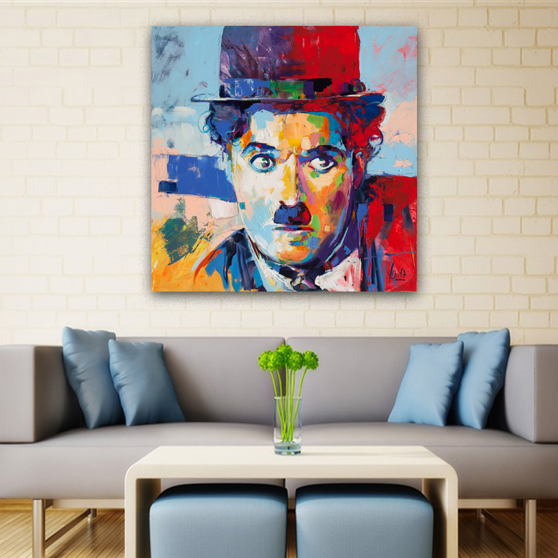 Charlie Chaplin Pictures Abstract Colorful Portrait Oil
