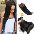 Brazillian Straight Hair With Closure Human Hair 4 Bundles With Closure Virgin Human Hair With Closure Bundles Free Shipping