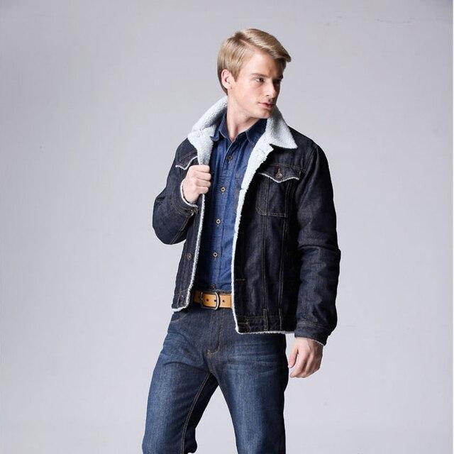 45d75218801 Autumn Winter dark blue fashion men s denim jacket with wool turn-down  collar Lining thicken jacket male