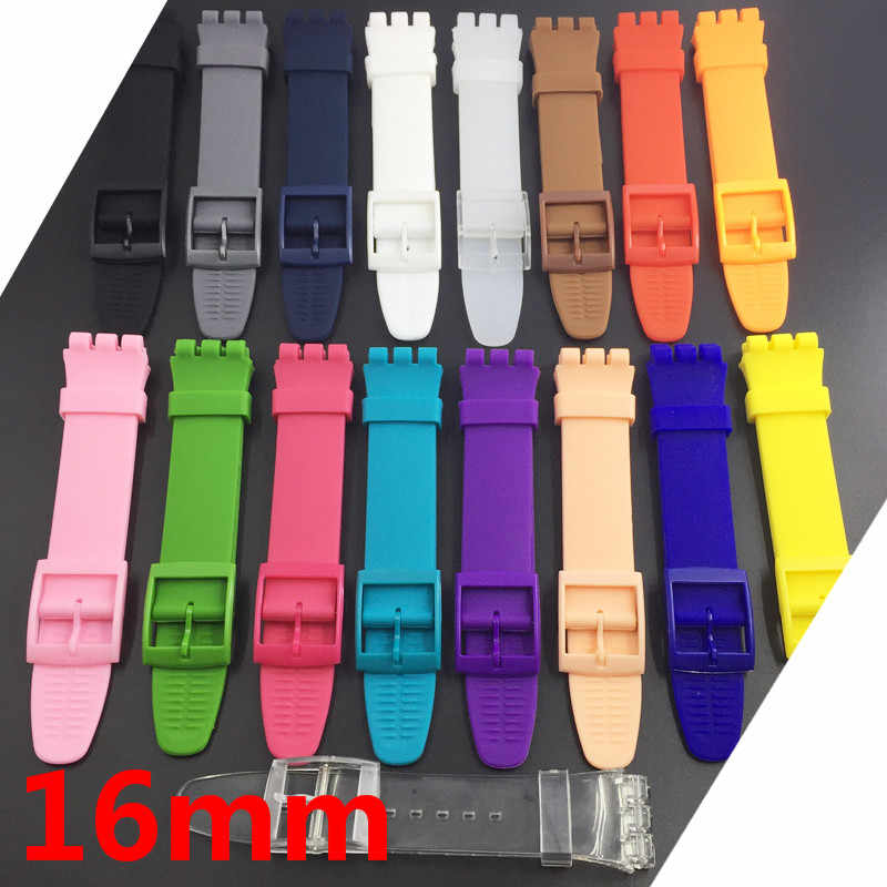Ultra-thin Watch Band for Swatch Skin Strap Replacement Pin Buckle 16mm Silicone Rubber Wristband Red Navy Black White Watchband