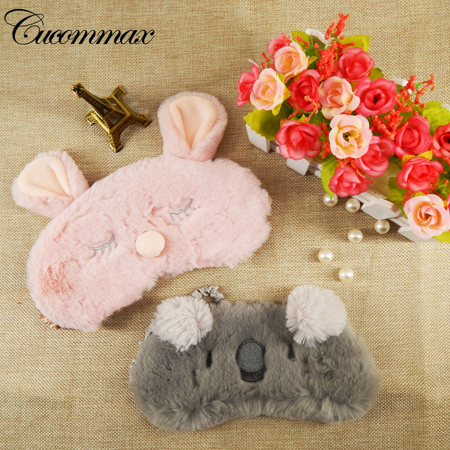 Cucommax Cut Koala/bunny Sleeping Eye Mask Nap Cartoon Plush Eye Shade Sleep Mask Black Mask Bandage on Eyes for Sleeping-MSK15 cute animal eye cover sleeping mask eyepatch bandage blindfold christmas deer winter cartoon nap eye shade plush sleeping mask