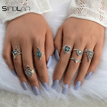 Fashion Wedding Jewelry 10pcs / Set Color Crystal Indian Ethnic Wind Hollow Flower Modeling Vintage Exaggerated Ring For Women
