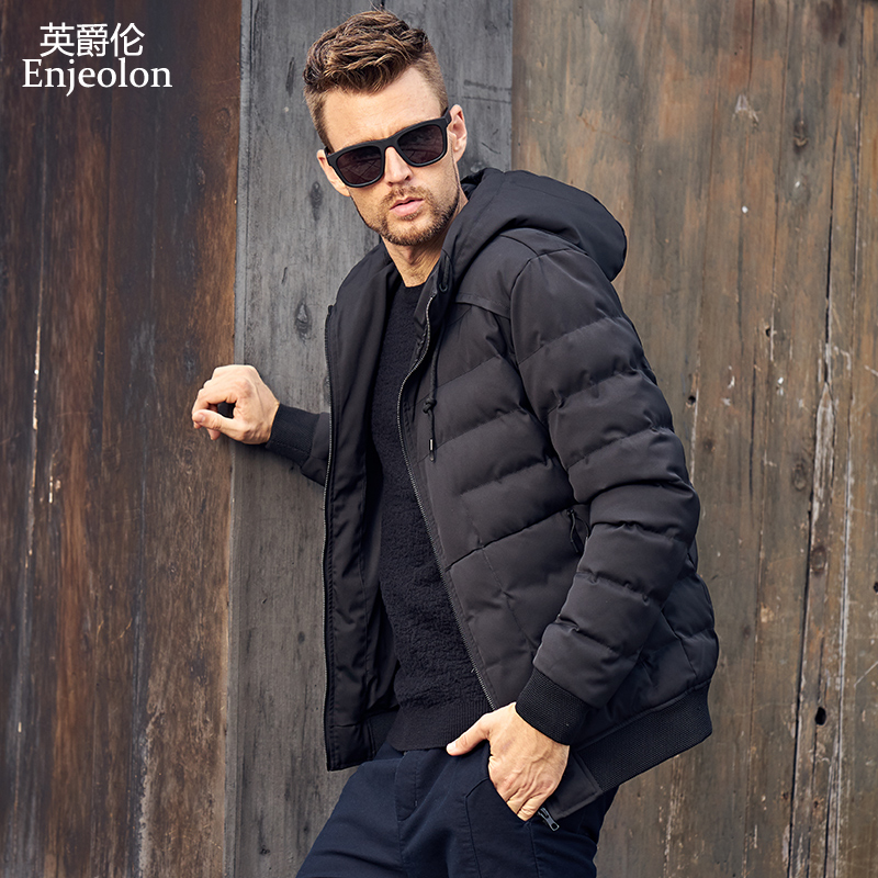 Enjeolon Brand winter Cotton Padded Jacket Men Windproof hooded Parka black printing Thick Quilted plus size 3XL Coat Men MF0282 winter jacket men 2016 brand parka plus size men s hooded parka zipper quilted coat casual jackets