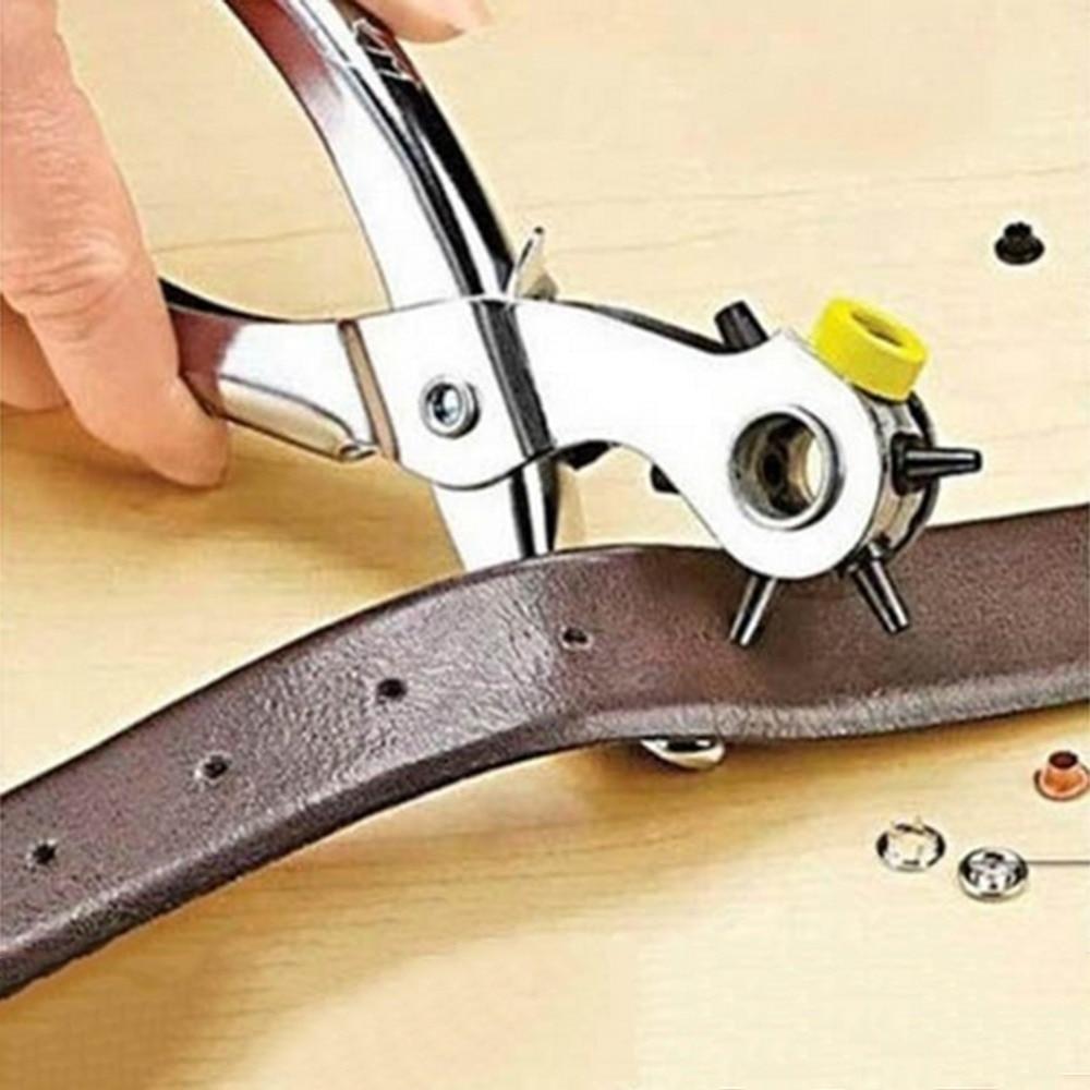 1 قطعة الجودة المنزلية حزام هول الناخس أدوات جلدية الناخس ثقوب لكمة آلة 3-in-1 اليد كماشة أداة مع 5 حفرة الأحجام