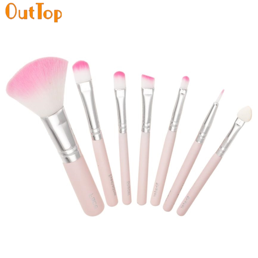 OutTop Love Beauty Female 7pcs Makeup Brushes Kits Professional Cosmetic Pink Make UP Brush Foundation Eye Shadow Tools O20HW
