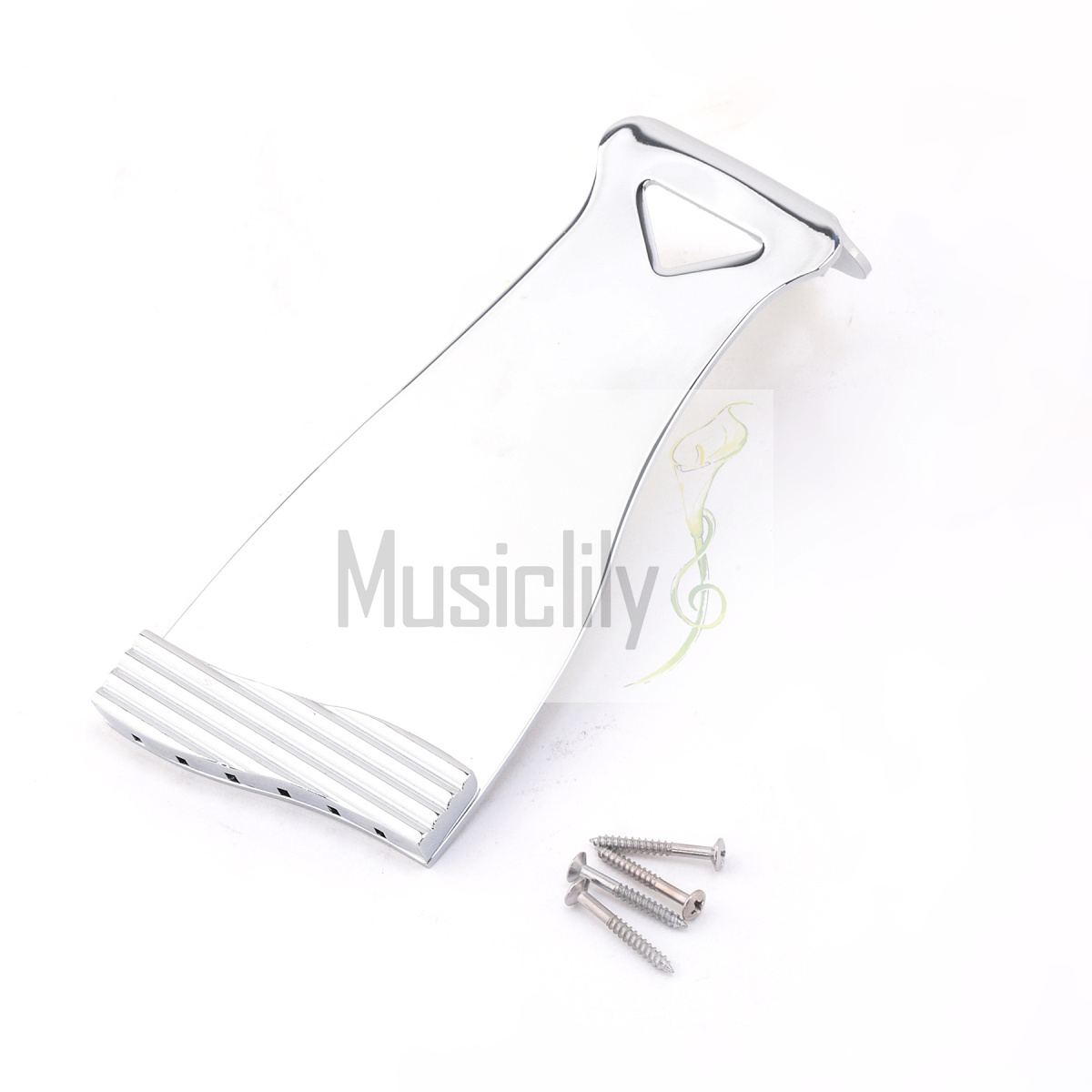 Musiclily Non-hinged Guitar Tailpiece, Chrome musiclily 3ply pvc outline pickguard for fenderstrat st guitar custom