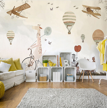 light brown/creme mural wallpaper for kids
