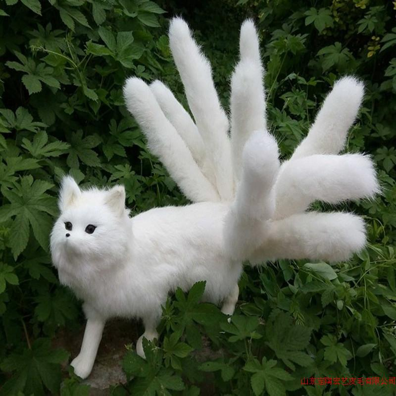 big simulation white fox toy polyethylene & furs nine-tails fox model gift about 35x23cm 192 big simulation penguin toy polyethylene