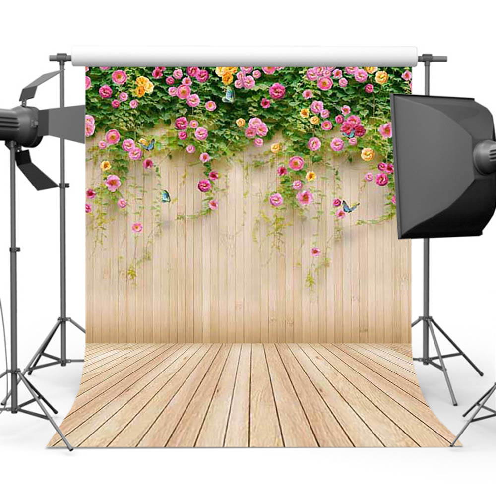 Mehofoto Wood Backdrop for Photography Newborn Backgrounds Flower Photo Background Booth Studio F-1489