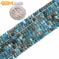 Gem-inside Natural Heishi Rondelle Disc Spacer Beads Faceted Blue Apatite Beads For Jewelry Making Strand 15inches DIY Jewellery