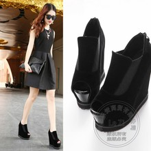 Hidden Platform Insole Increase Shoes Woman Wedges 2015 Italian Shoe And Bag Set For Party In Women Ultra High Heels Flatform